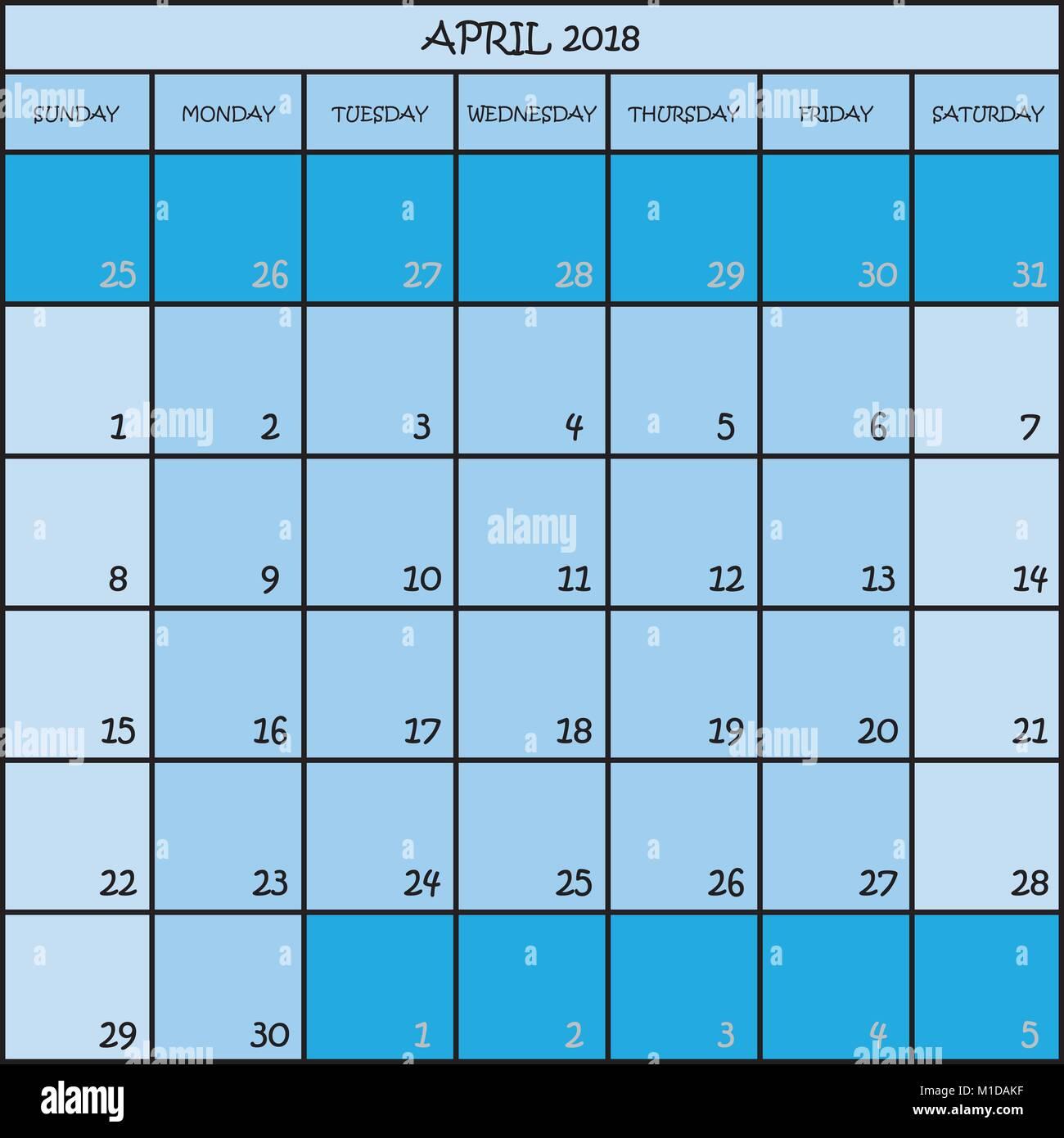calendar month april 2018