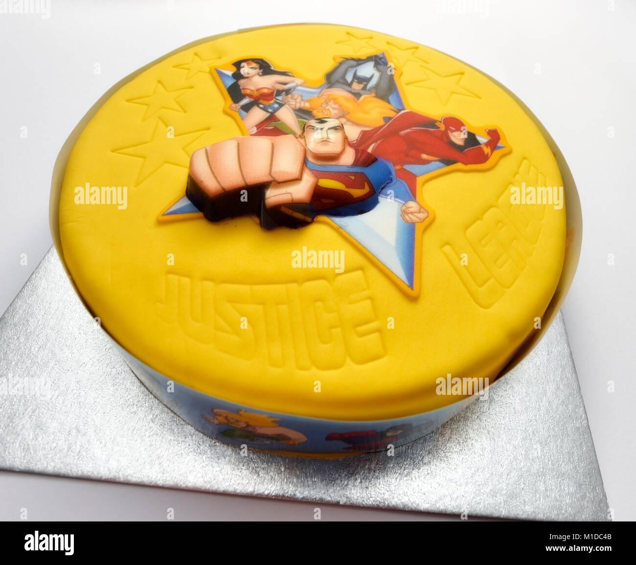 Pleasant Superhero Birthday Cake Stock Photo 173013243 Alamy Funny Birthday Cards Online Kookostrdamsfinfo