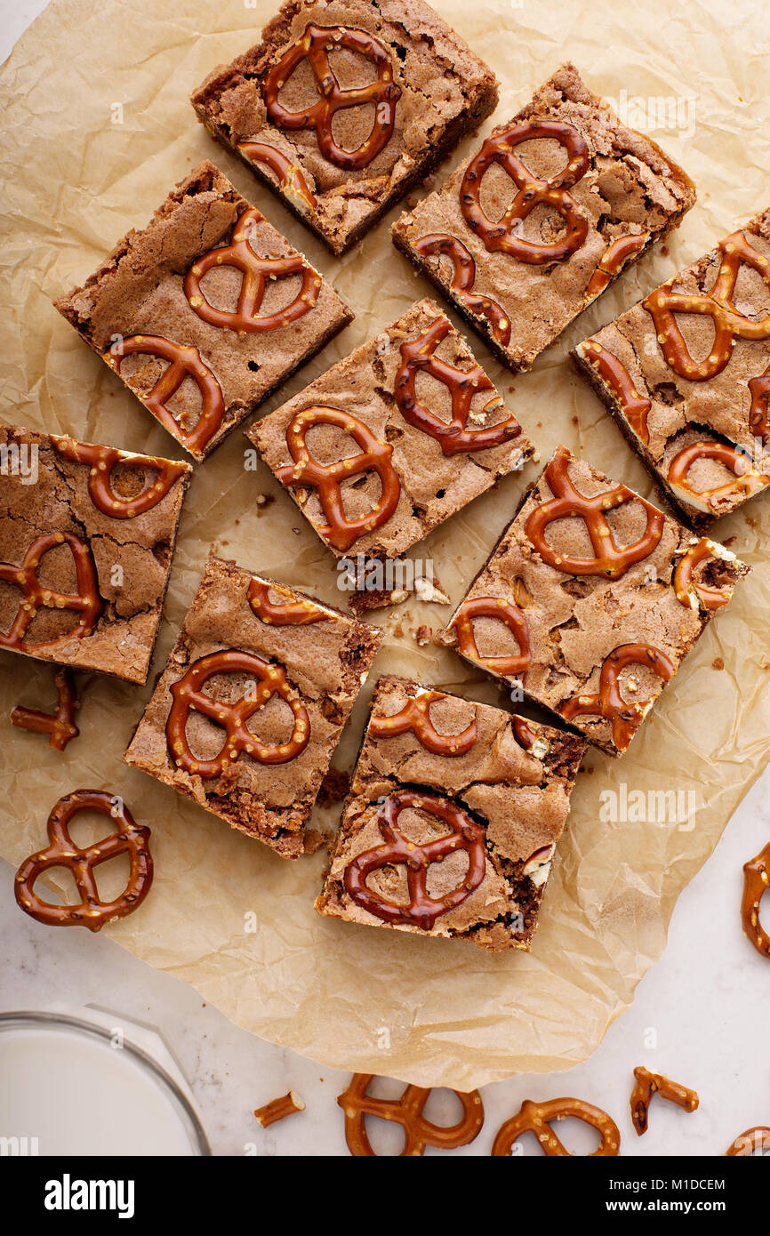 Homemade brownies with pretzels - Stock Image