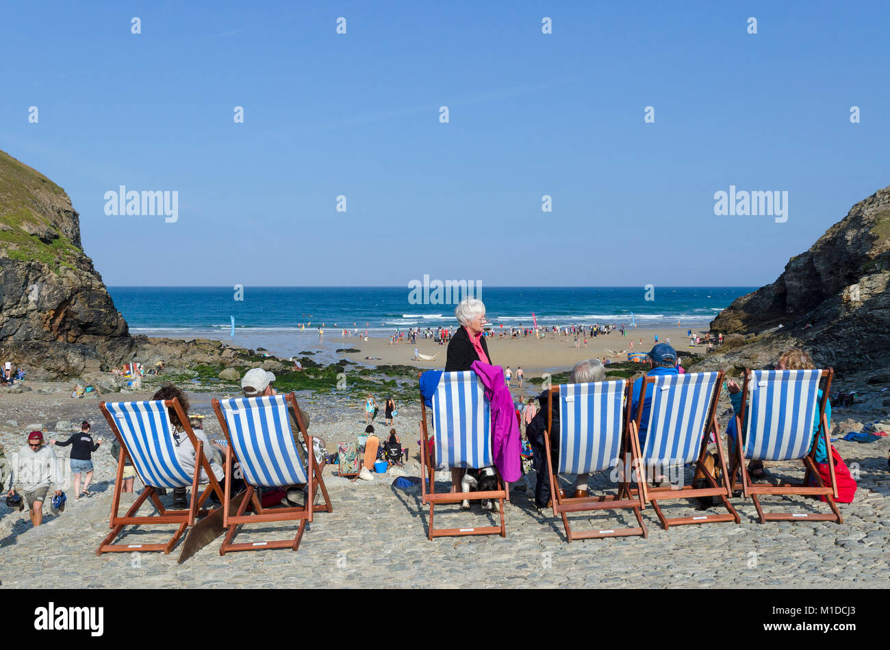 summer at chapel porth beach near st.agnes in cornwall, england, britain, uk. - Stock Image