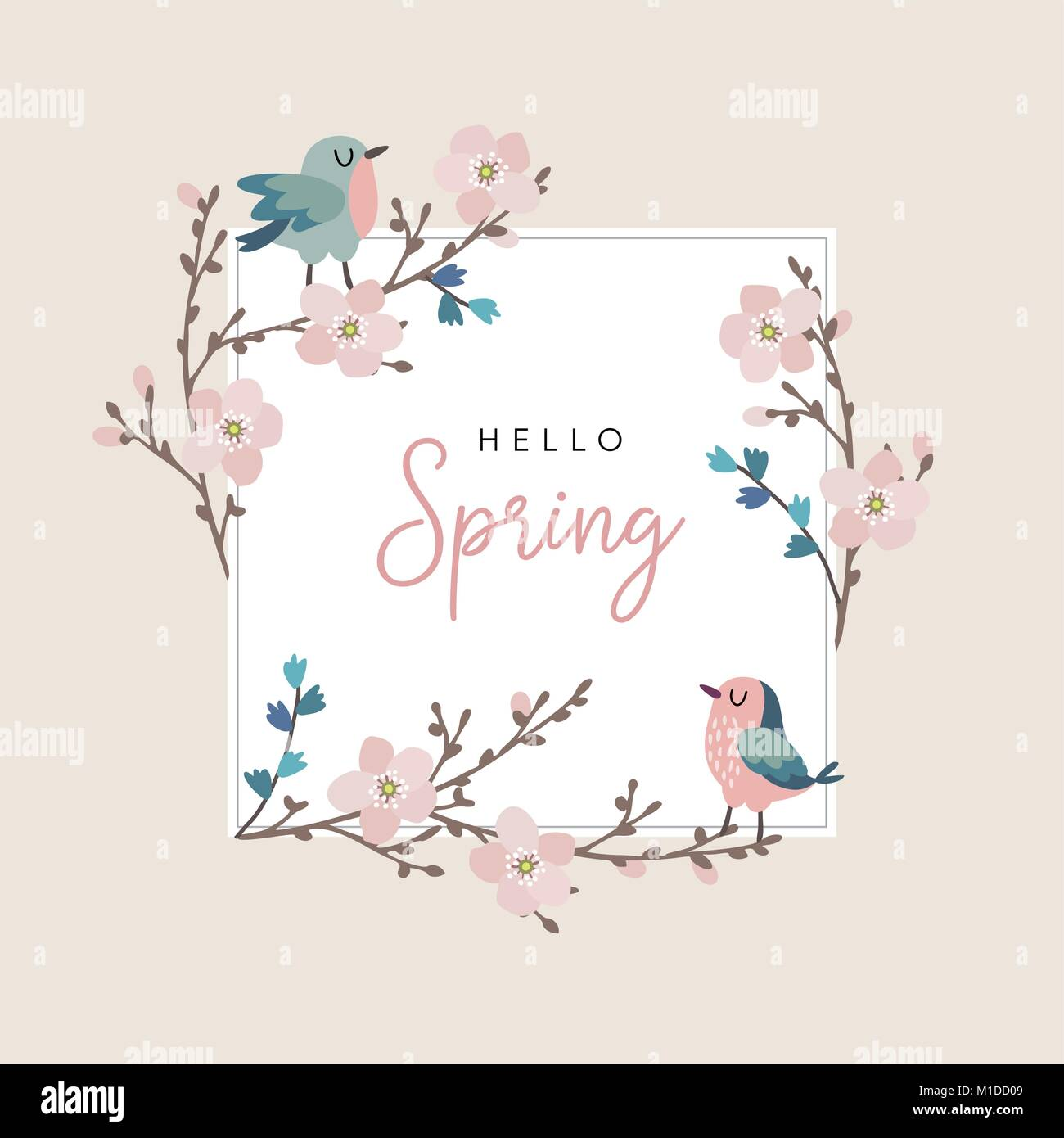 Hello Spring Greeting Card Invitation With Cute Hand Drawn Birds