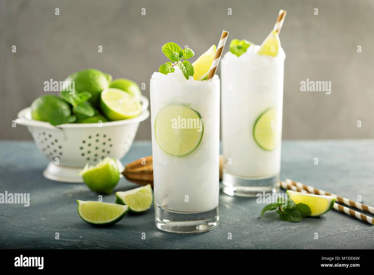 Refreshing lime frozen cooler or slushie - Stock Image
