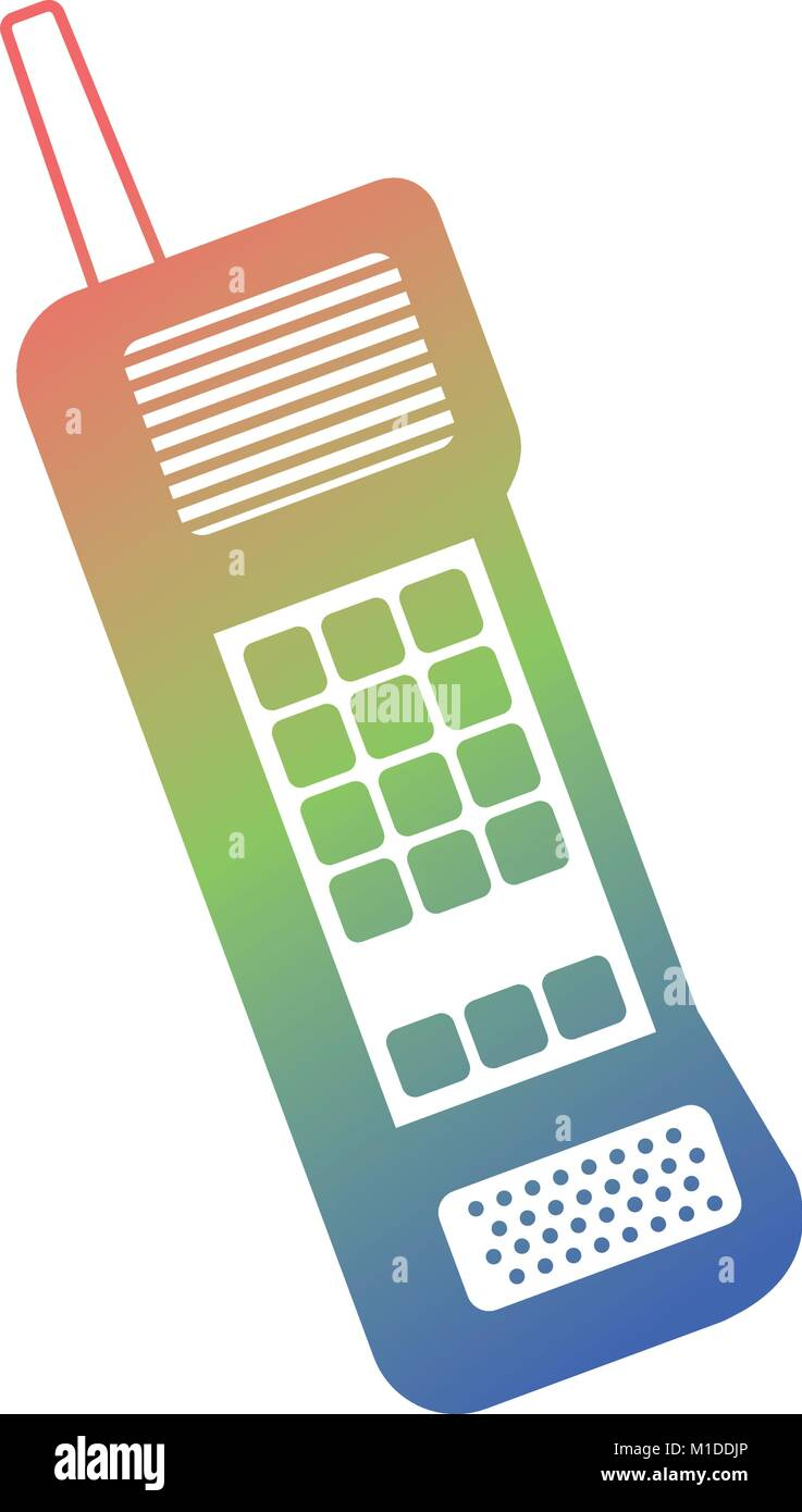 old mobile phone vintage communication icon - Stock Vector