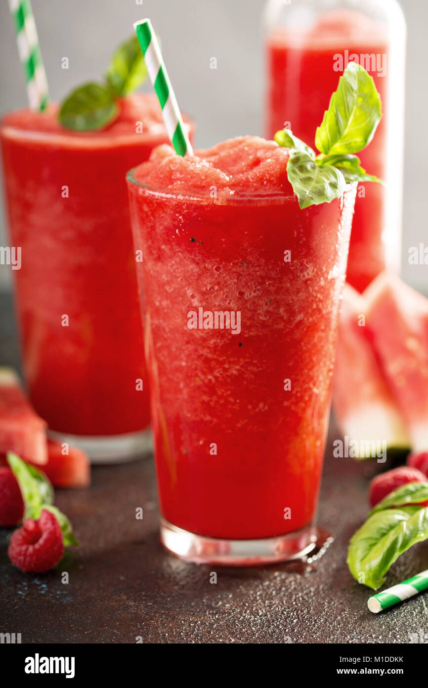 Refreshing cold summer drink watermelon slushie - Stock Image