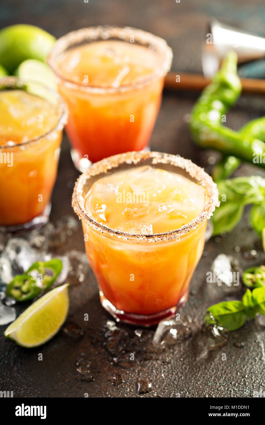 Tequila sunrise margarita - Stock Image