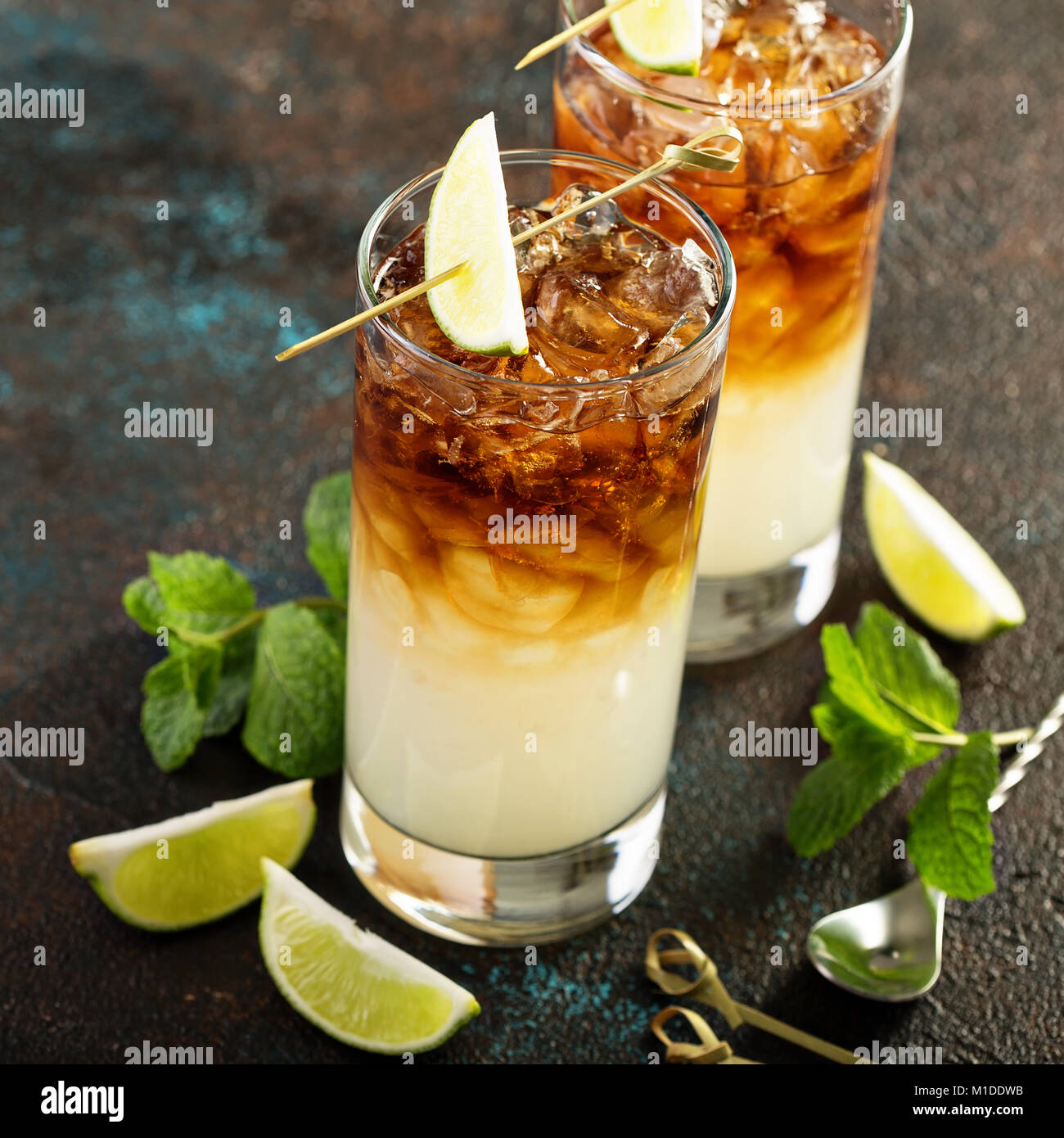 Dark and stormy cocktail - Stock Image