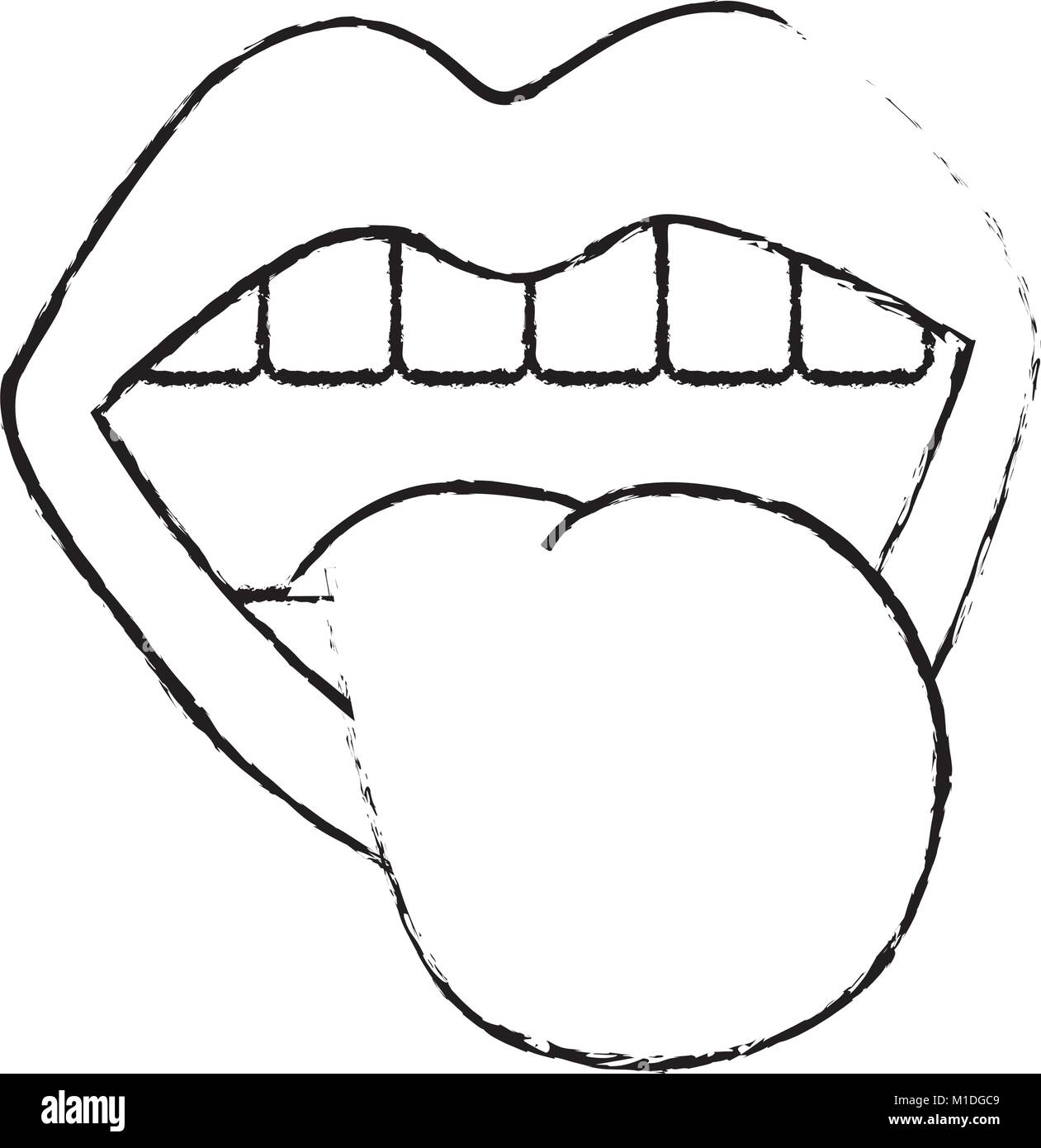 Mouth Tongue Out Vintage Emblem Vector Illustration Stock Vector