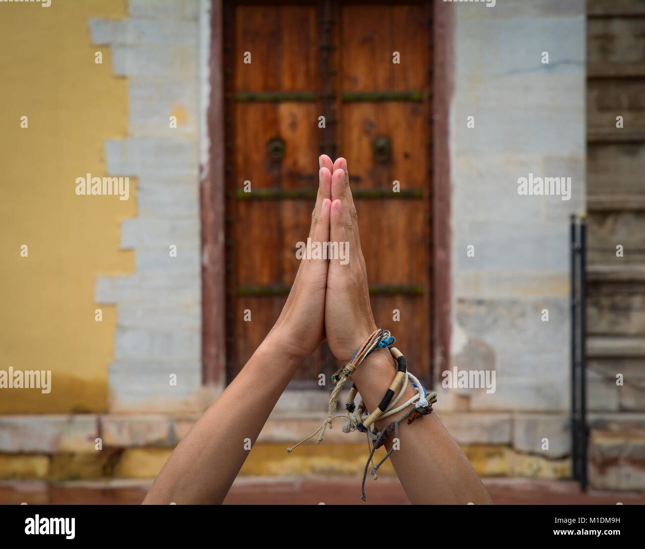 Hands In Namaste Prayer Mudra By Indian Man Practicing Yoga Stock