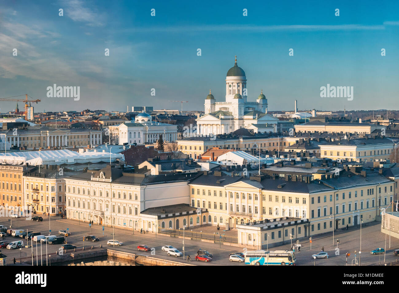 Helsinki, Finland. Aerial View Street With Presidential Palace And Helsinki Cathedral In Winter Day. View From Height - Stock Image
