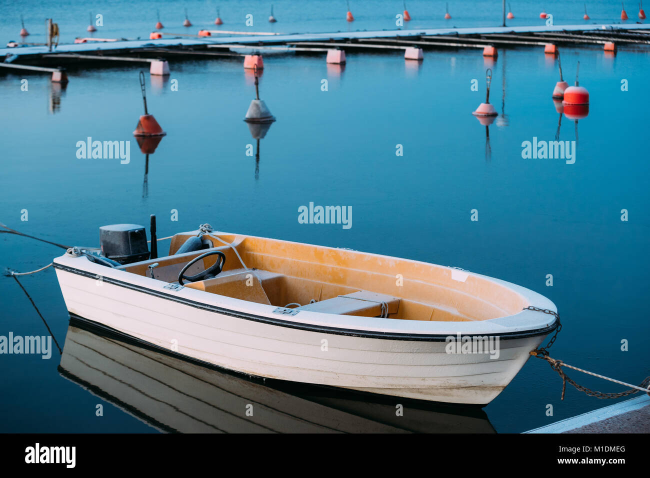 Helsinki, Finland. Powerboat Or Motorboat Moored At Berth. Frost On Boat Surface - Stock Image