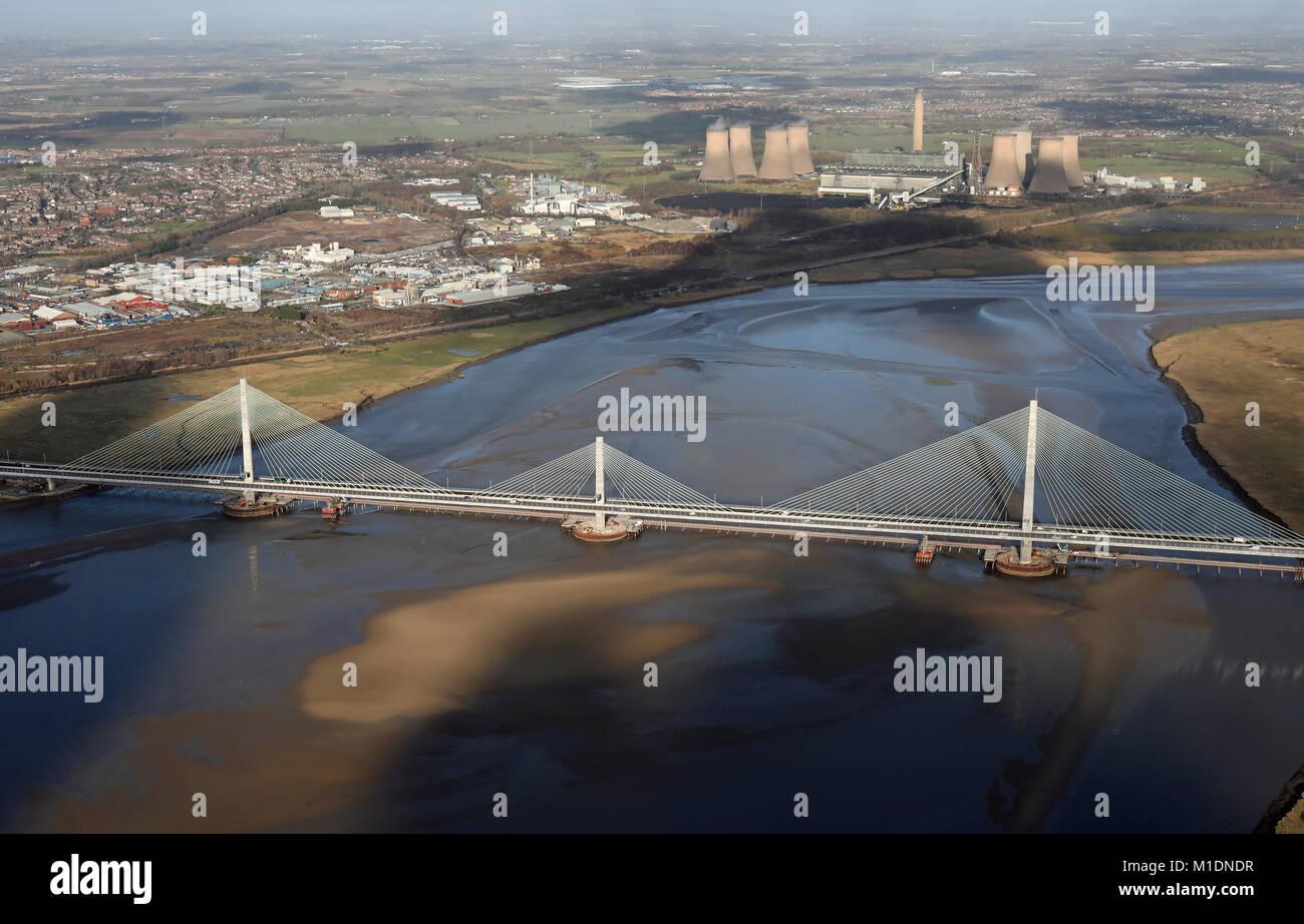 aerial view of the new Runcorn Mersey Gateway Bridge, Chehsire, UK - Stock Image