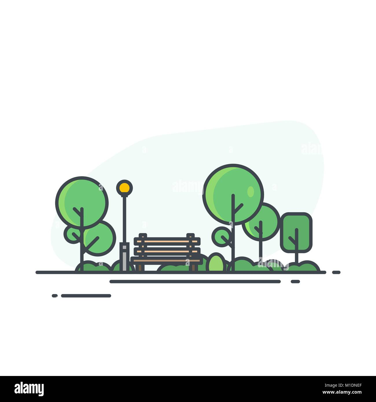 City park with bench - Stock Vector