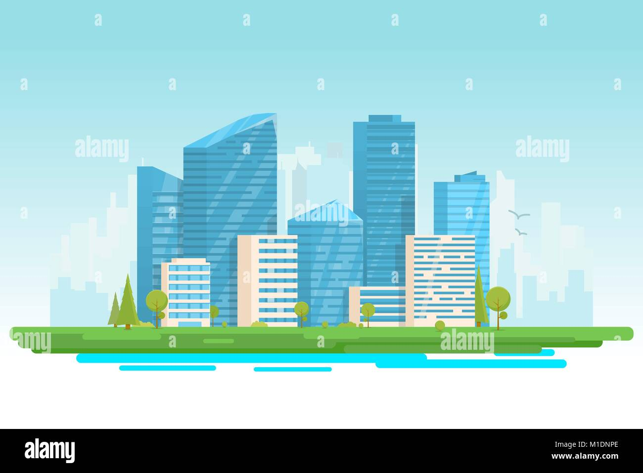 Modern city with skyscrapers - Stock Vector
