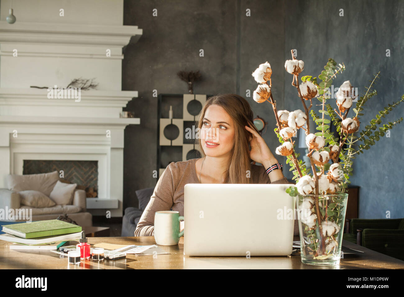 Portrait Of Happy Smiling Architect Or Designer Woman Sitting At Office And  Using Laptop