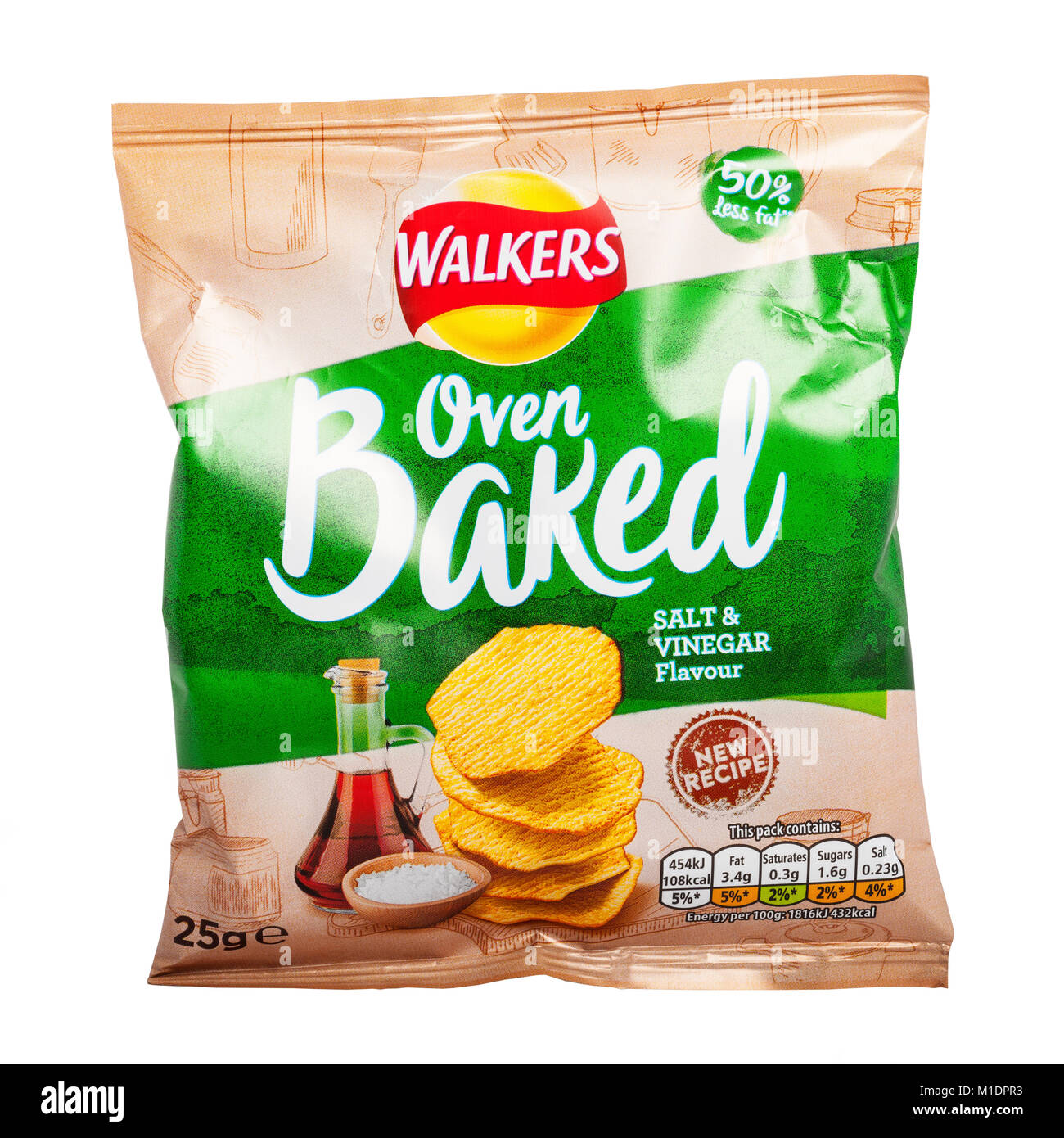 A packet of Walkers oven baked salt & vinegar flavour crisps with 50% less fat on a white background - Stock Image