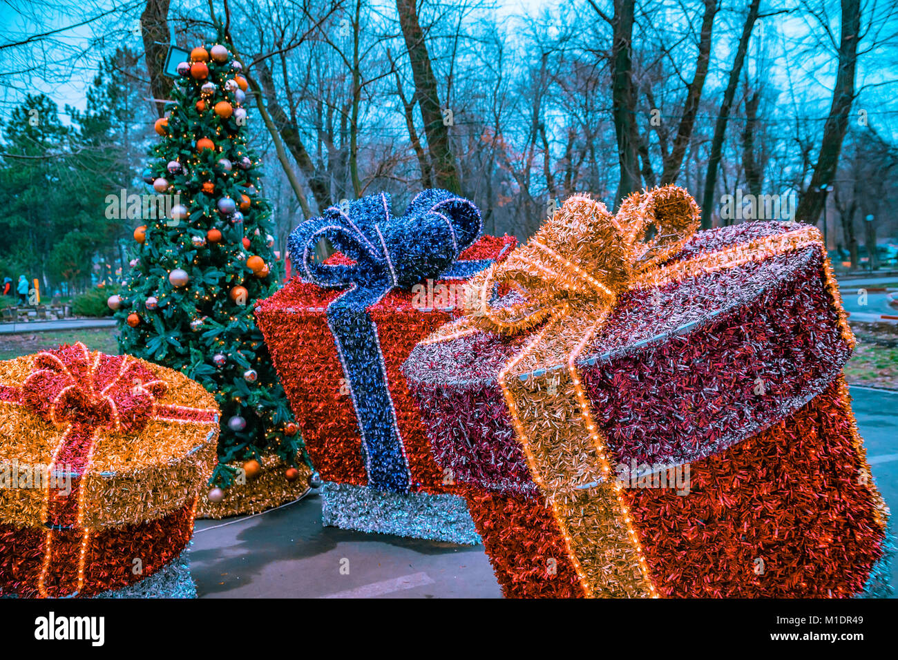 christmas decorations gift boxes made of tinsel stock image