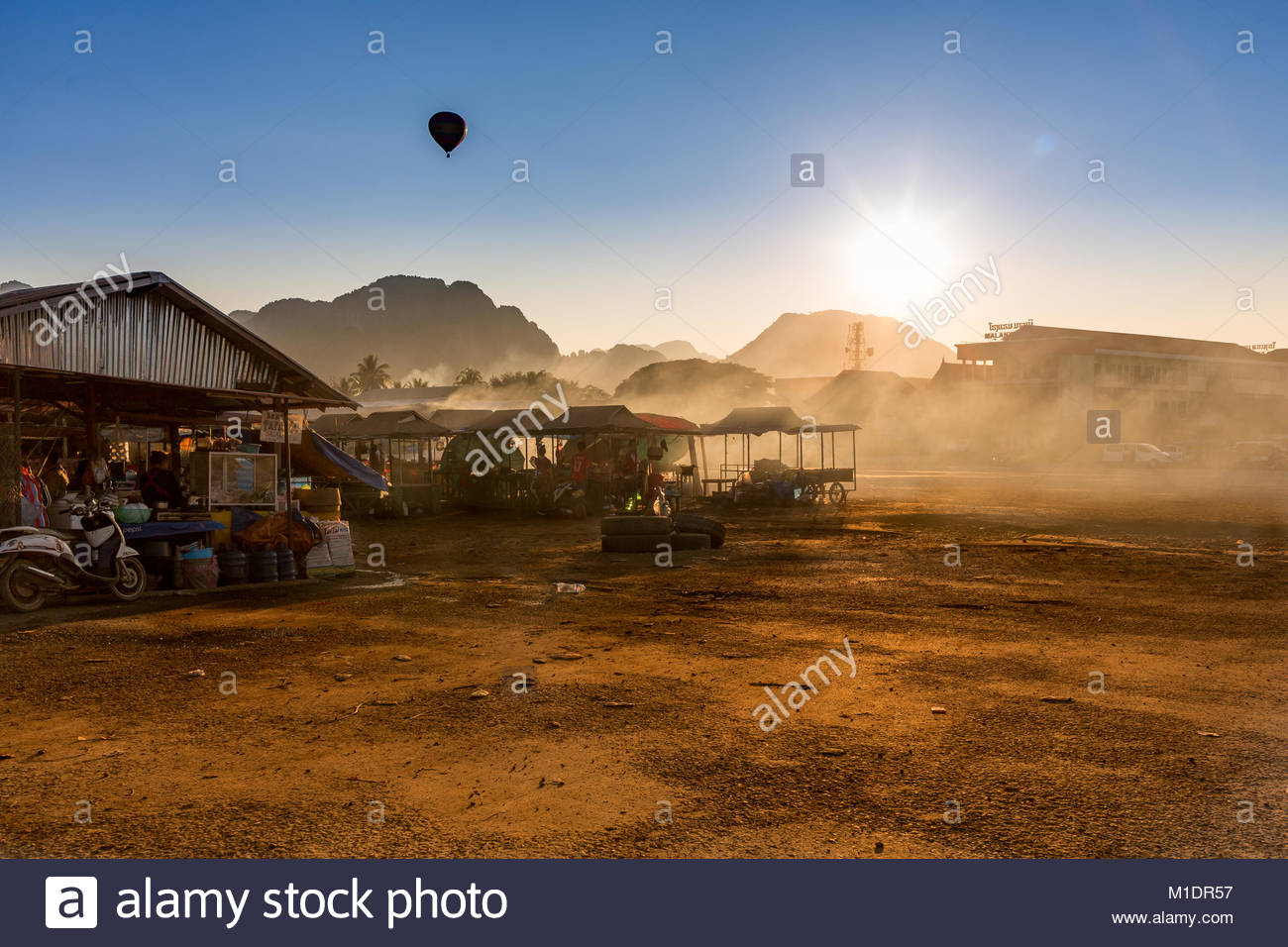 Dusty place in Vang vieng - Stock Image