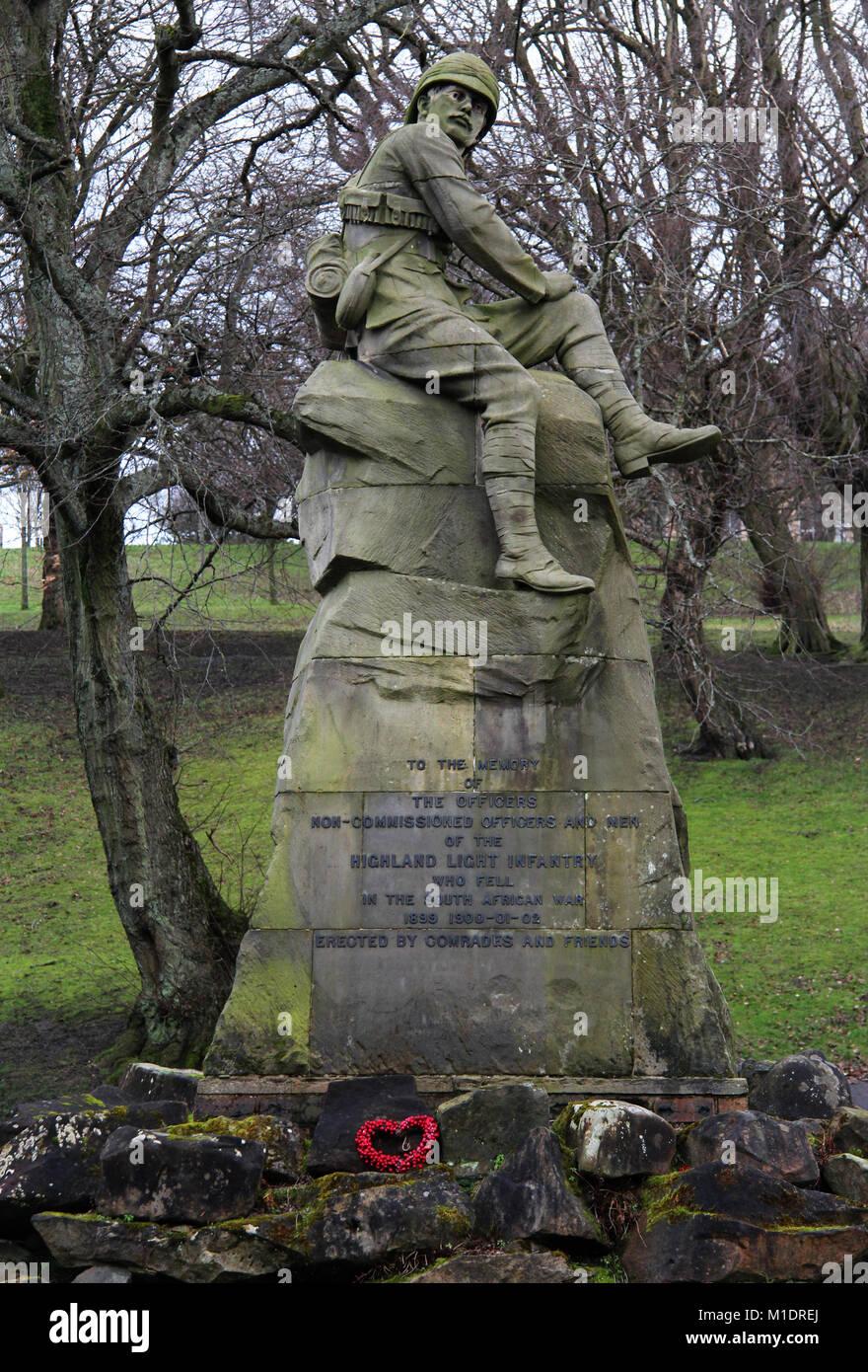 Highland Light Infantry Memorial, South African War, Kelvingorve Park, Glasgow, Scotland, UK - Stock Image