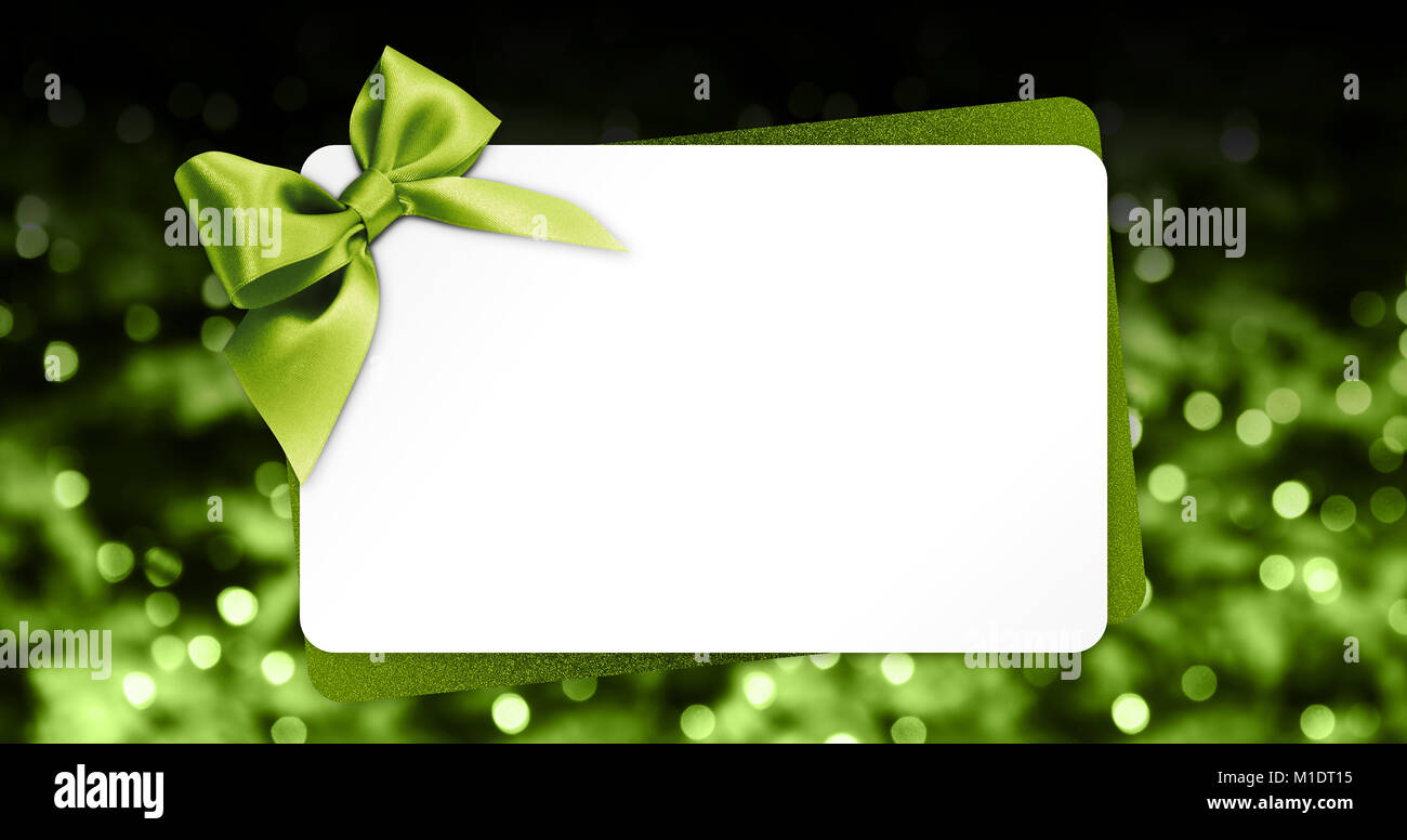 Greeting Gift Card With Green Ribbon Bow Isolated On Blurred Stock