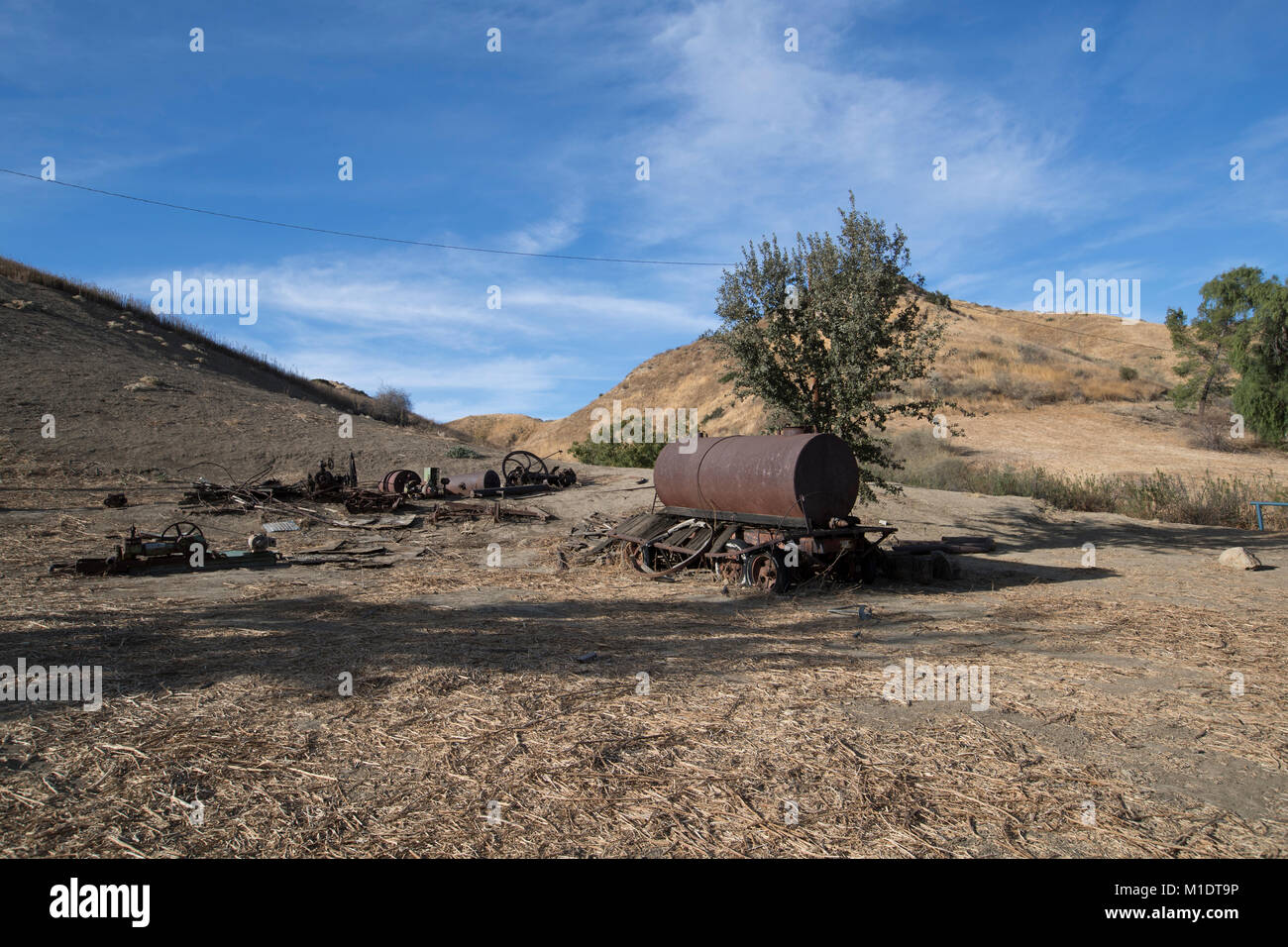 Abandoned farm equipment and farmland, Mentryville, Pico Canyon, LA County - Stock Image