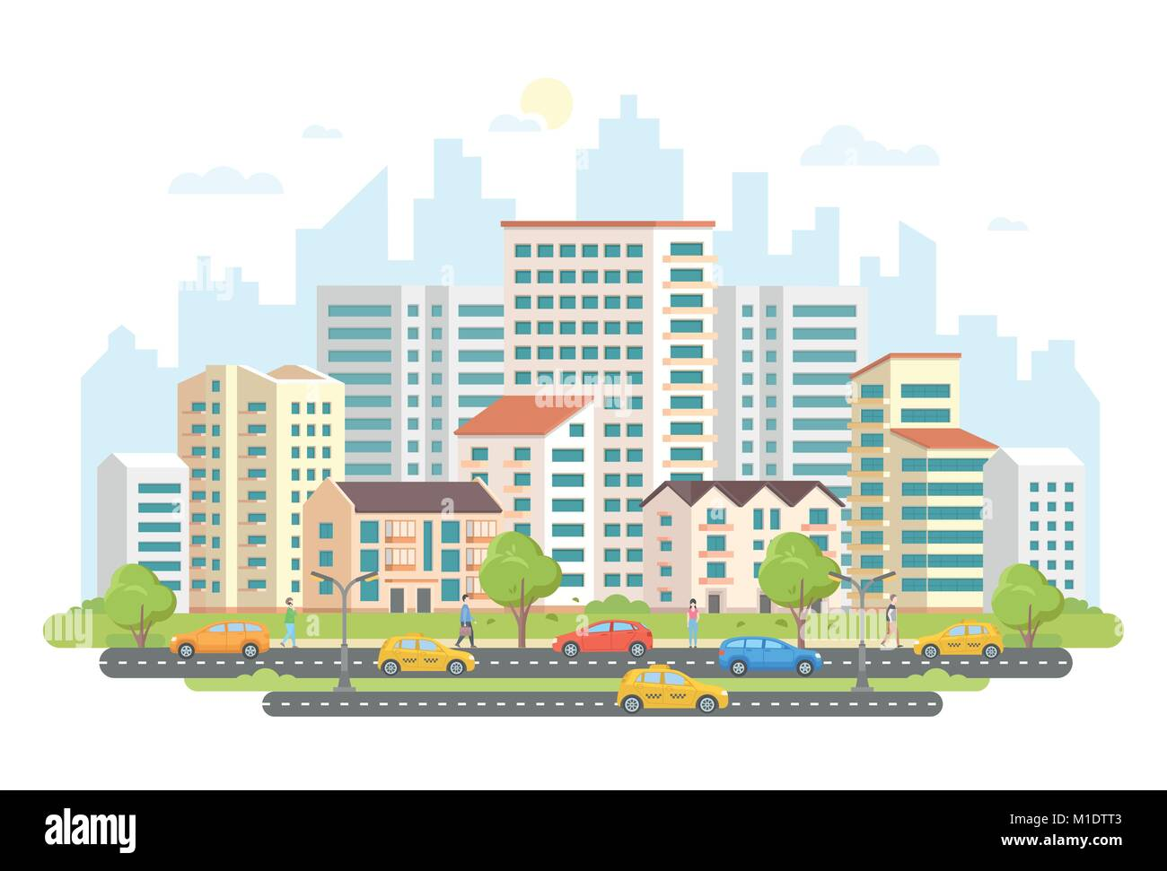 Busy street life - modern colorful flat vector illustration - Stock Image