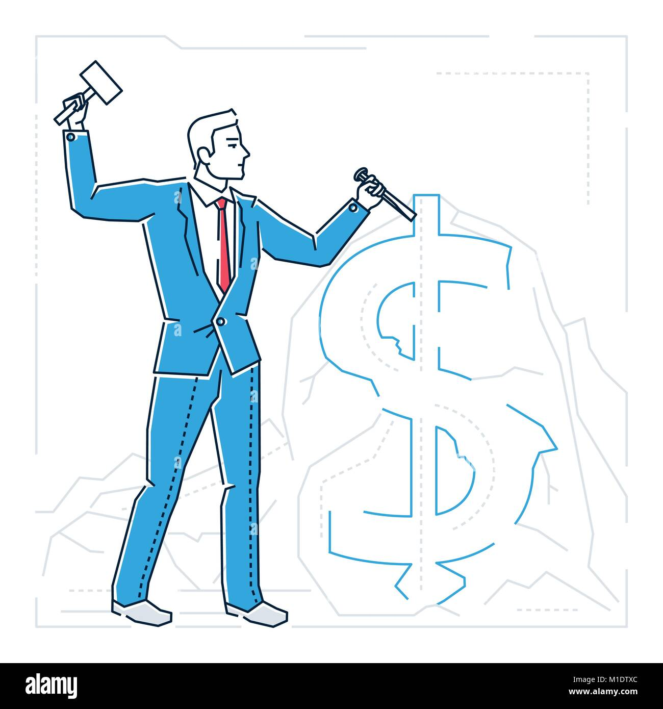 Businessman making money - line design style isolated illustration - Stock Vector