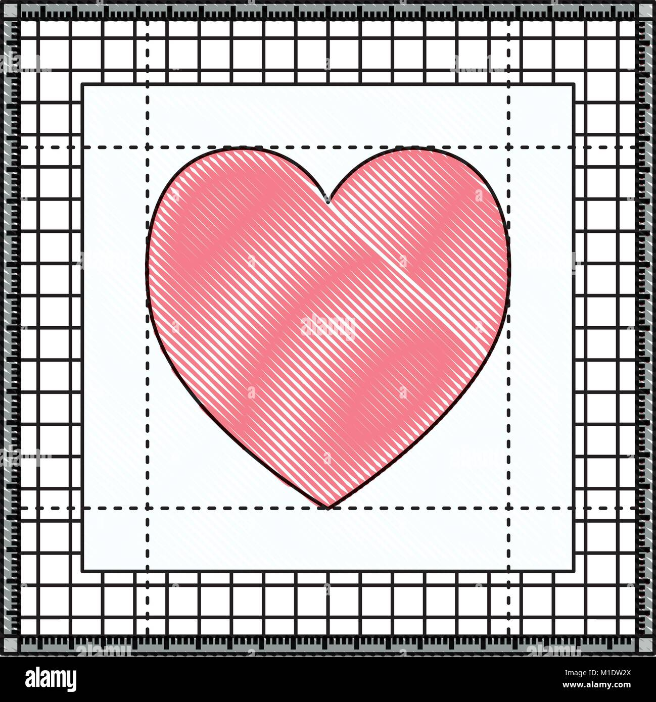 heart in screen workspace graphic design in colored crayon silhouette - Stock Image
