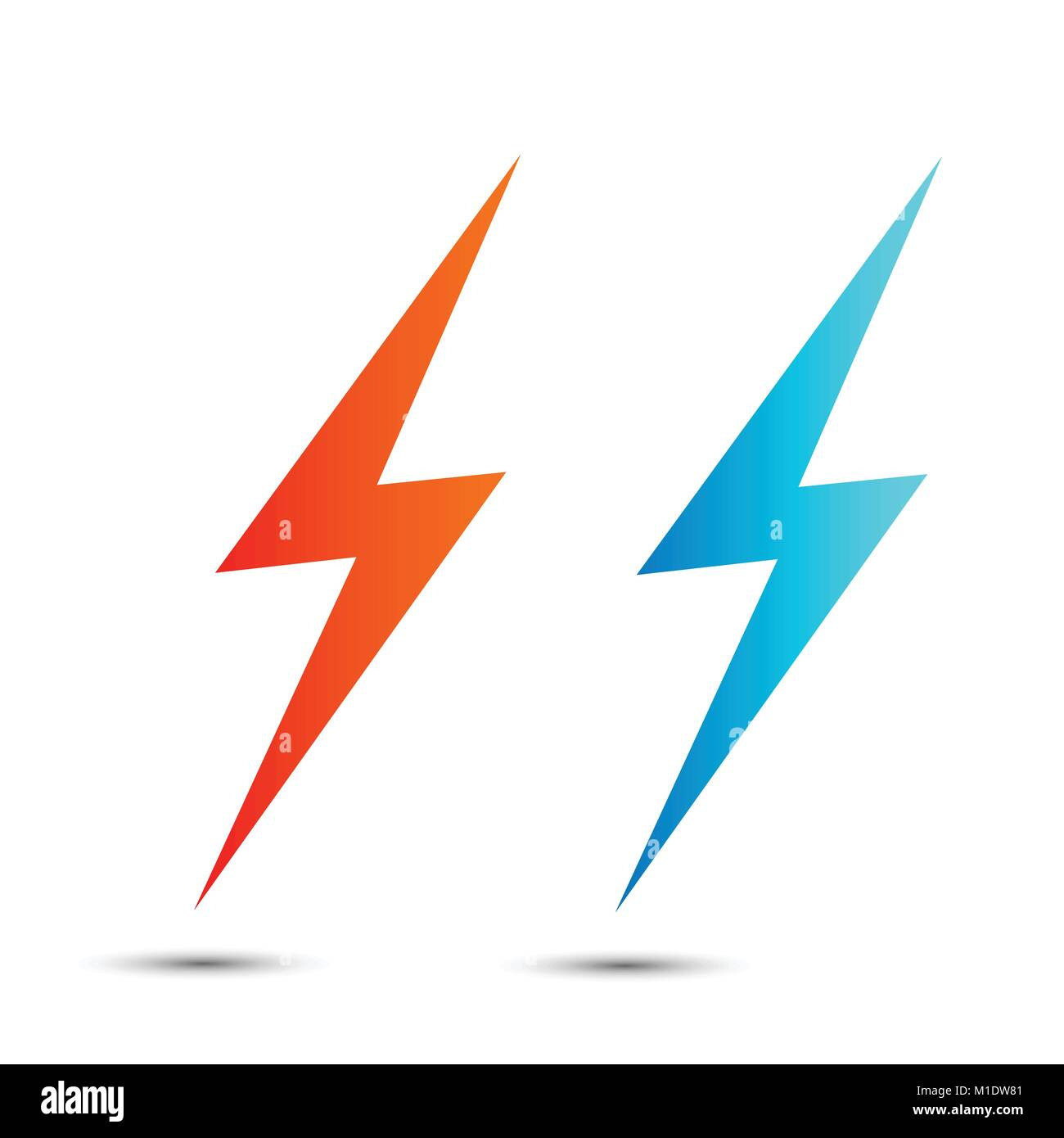 Lightning flat icons set  Simple icon storm or thunder and