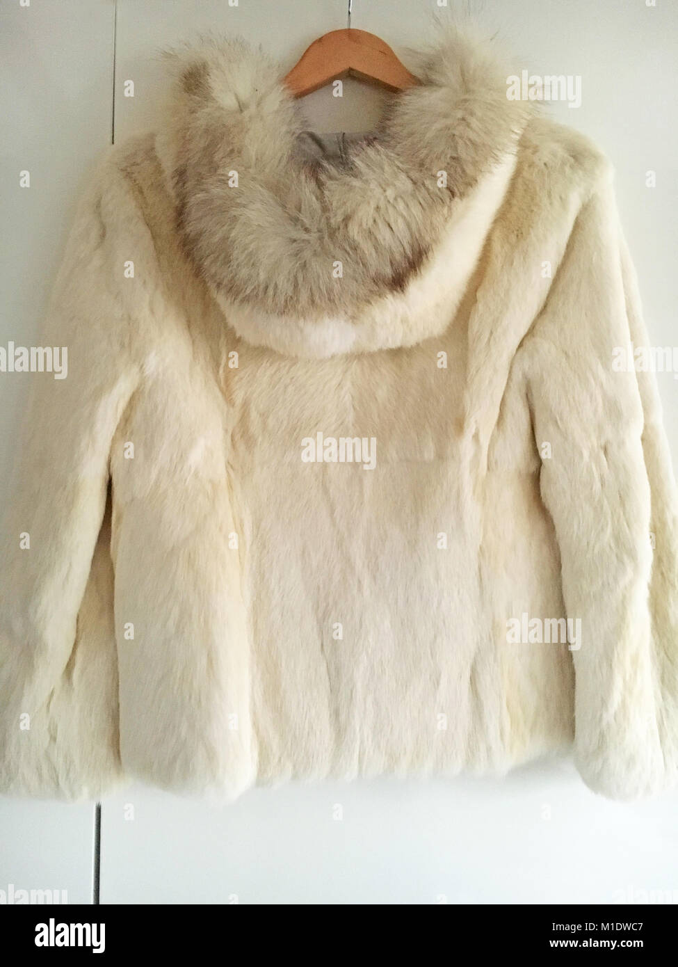 Snow White Fur Coat - Stock Image