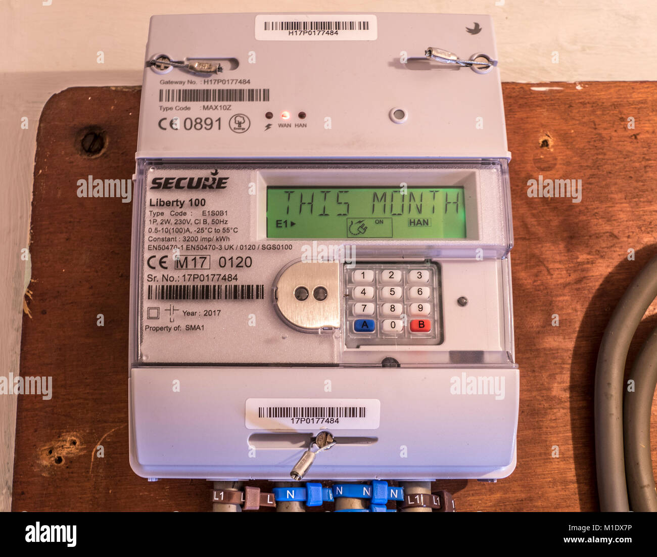 Secure Liberty 100 smart electricity meter, measuring consumption and relaying 'This Month' information - Stock Image