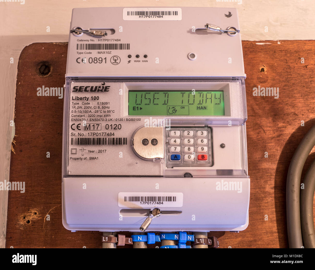 Secure Liberty 100 smart electricity meter, measuring consumption and relaying 'Used Today' information - Stock Image