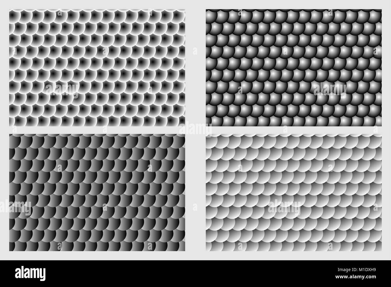 Fish scale pattern, Simple circular background - black and white set - vector circle pattern - Stock Image