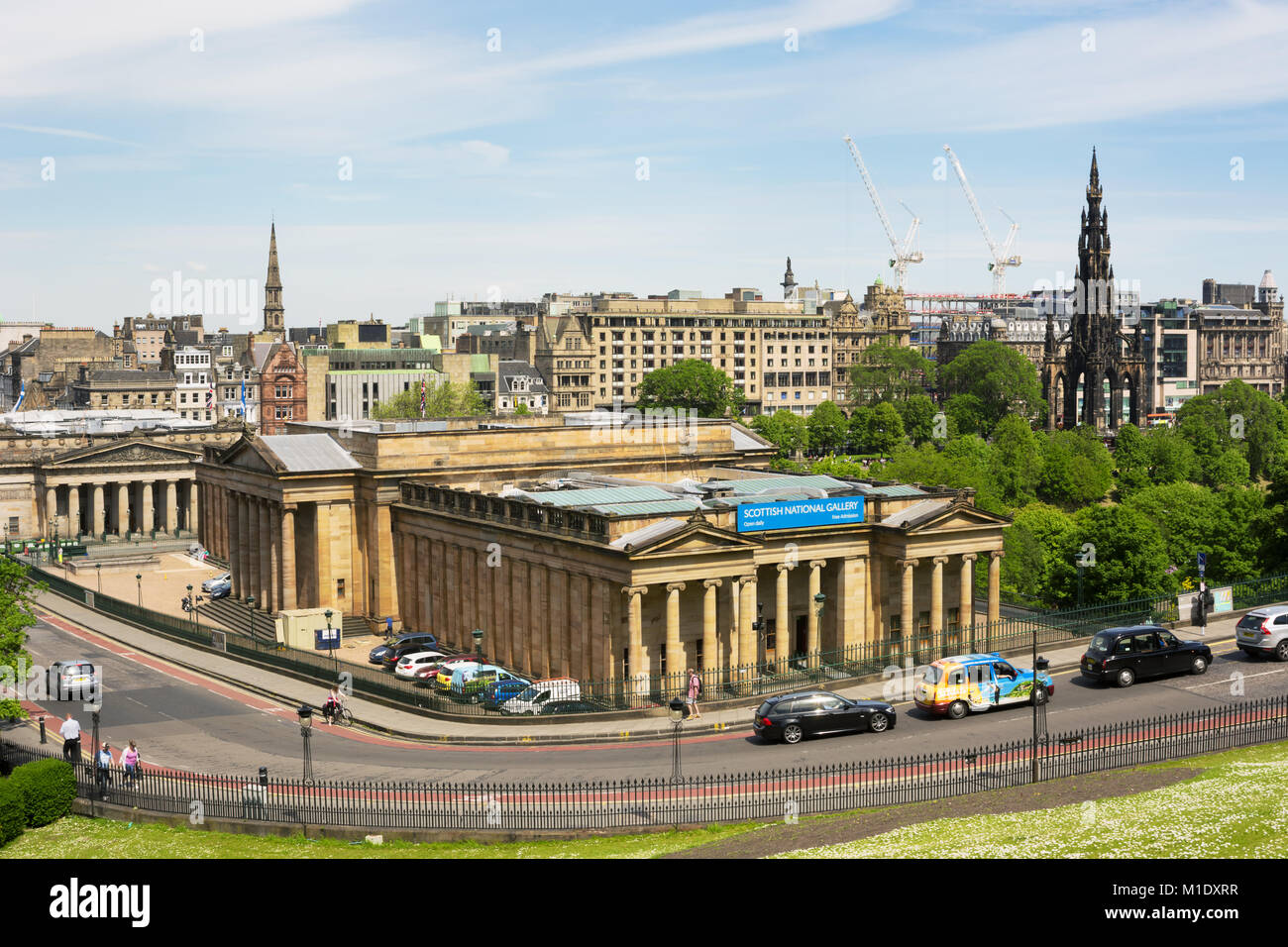 EDINBURGH, SCOTLAND - JUNE 12, 2015:  View towards Scottish National Gallery and Scott Monument from a high point Stock Photo