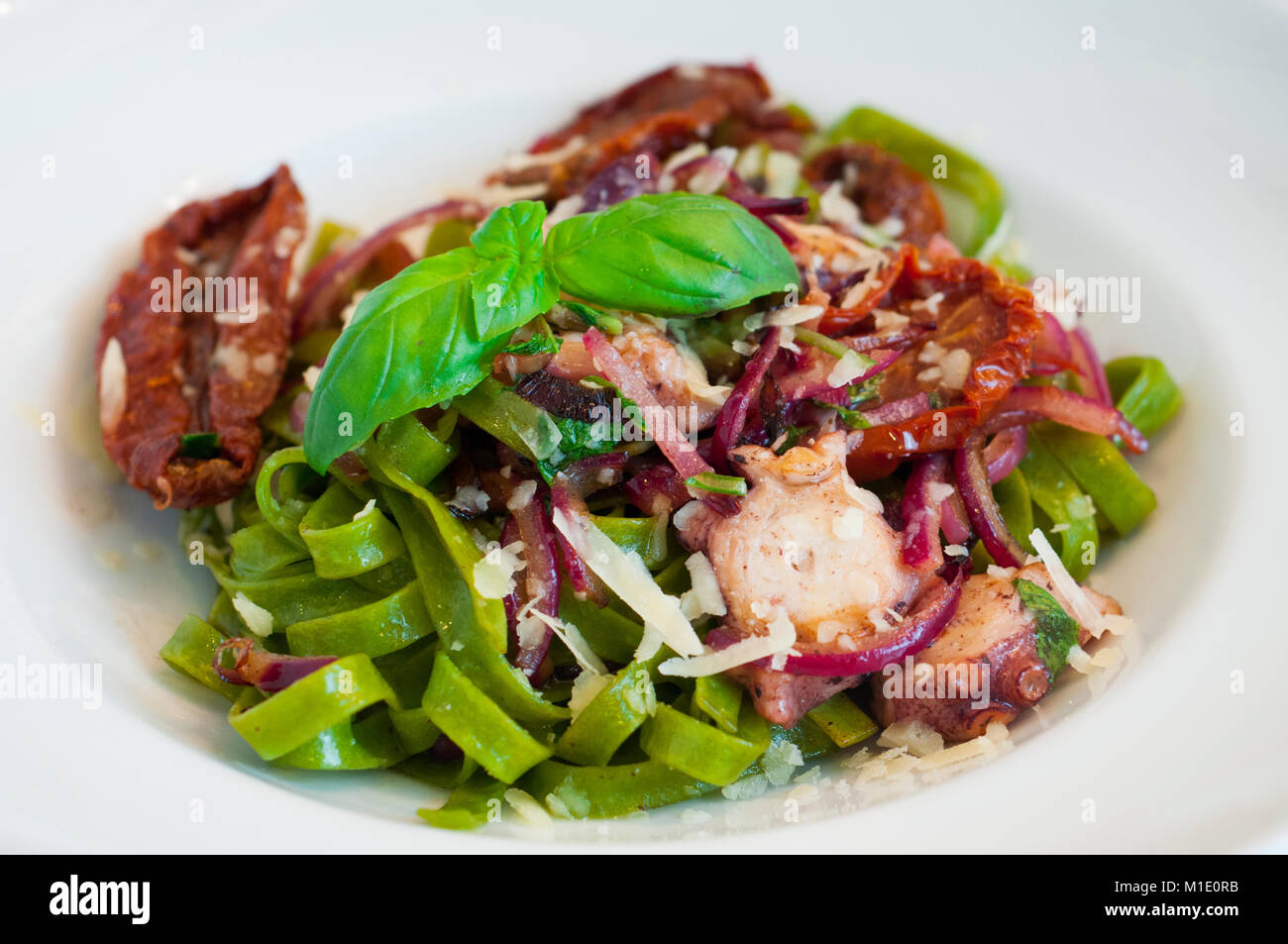 green tagliatelle pasta with seafood, sun-dried tomatoes, red onion and parmesan - Stock Image