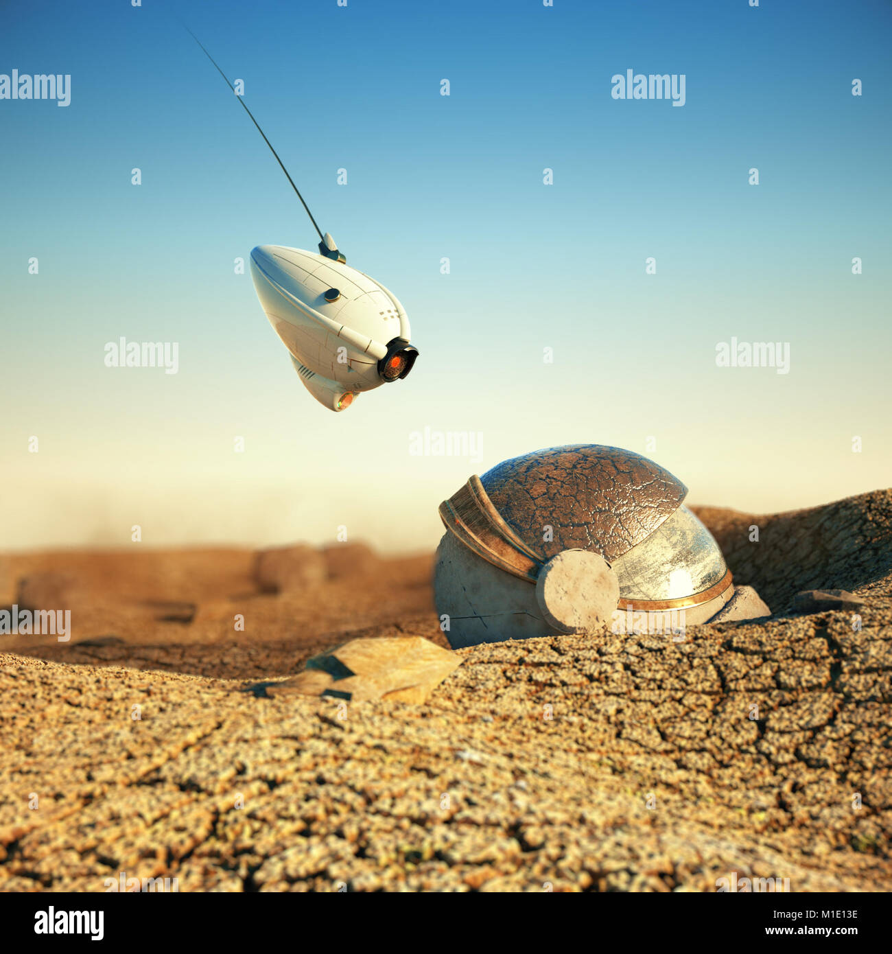 white robot drone hovering over obsolete space helmet in cracked desert on other planet. sci-fi concept 3d render - Stock Image