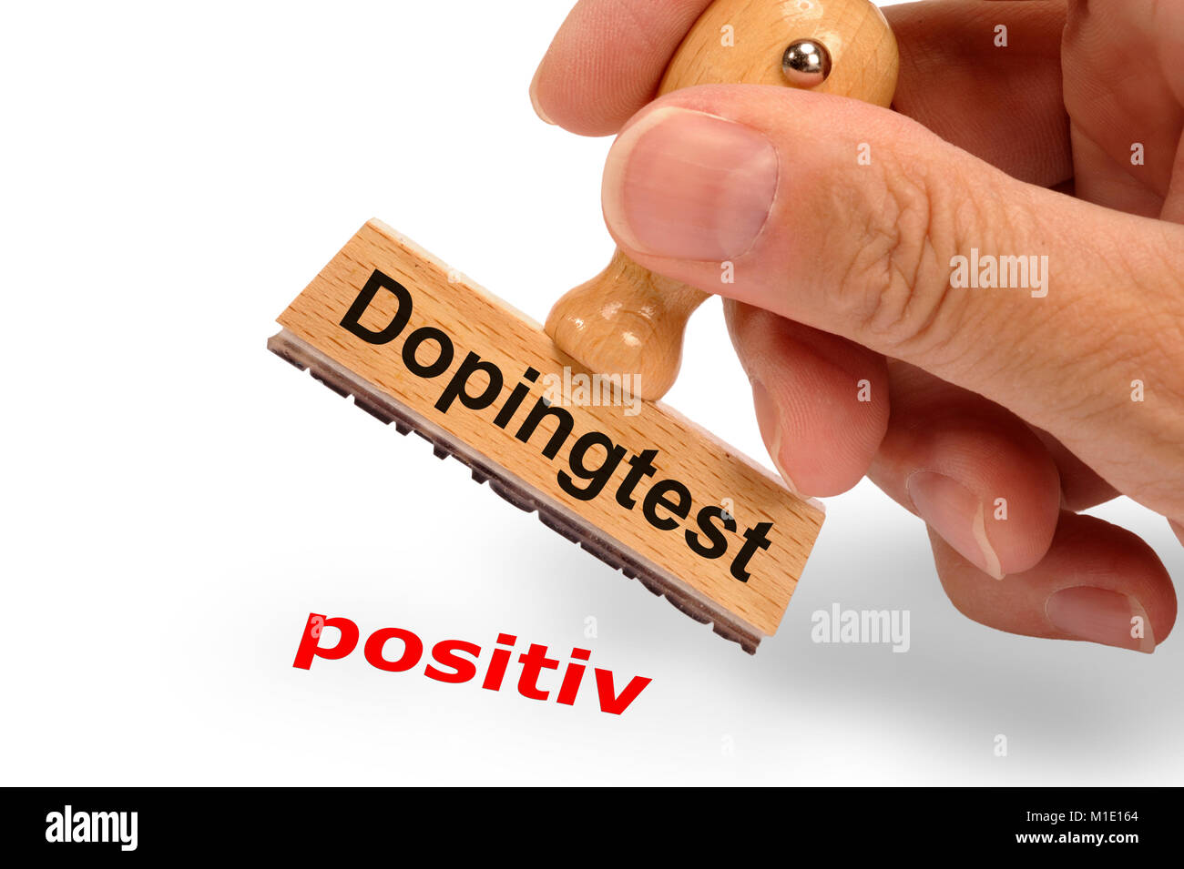 Stempel zeigt positiven Dopingtest im Sport - Stock Image
