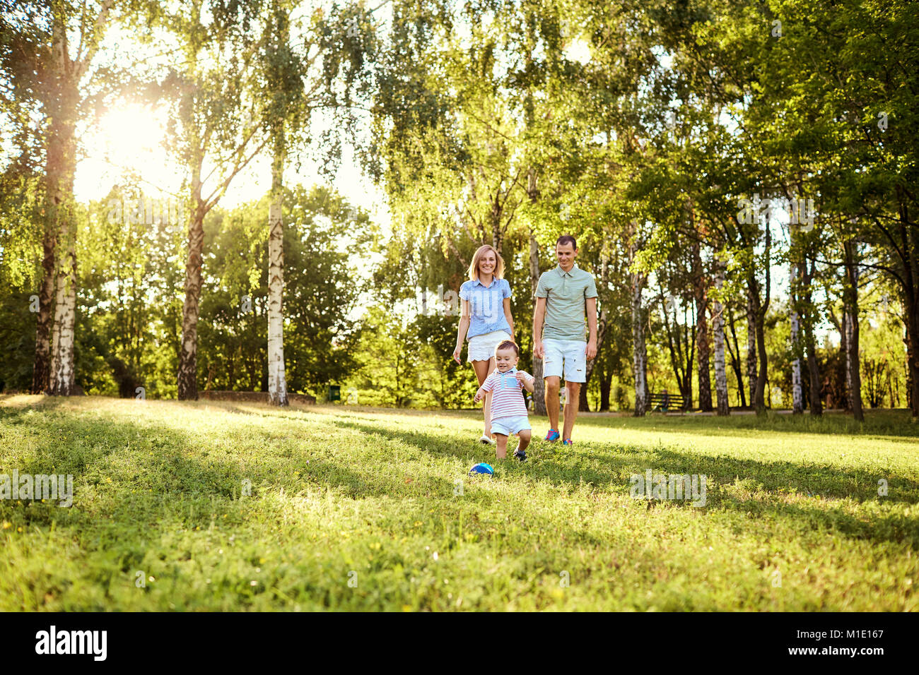 Happy family in nature.  Stock Photo