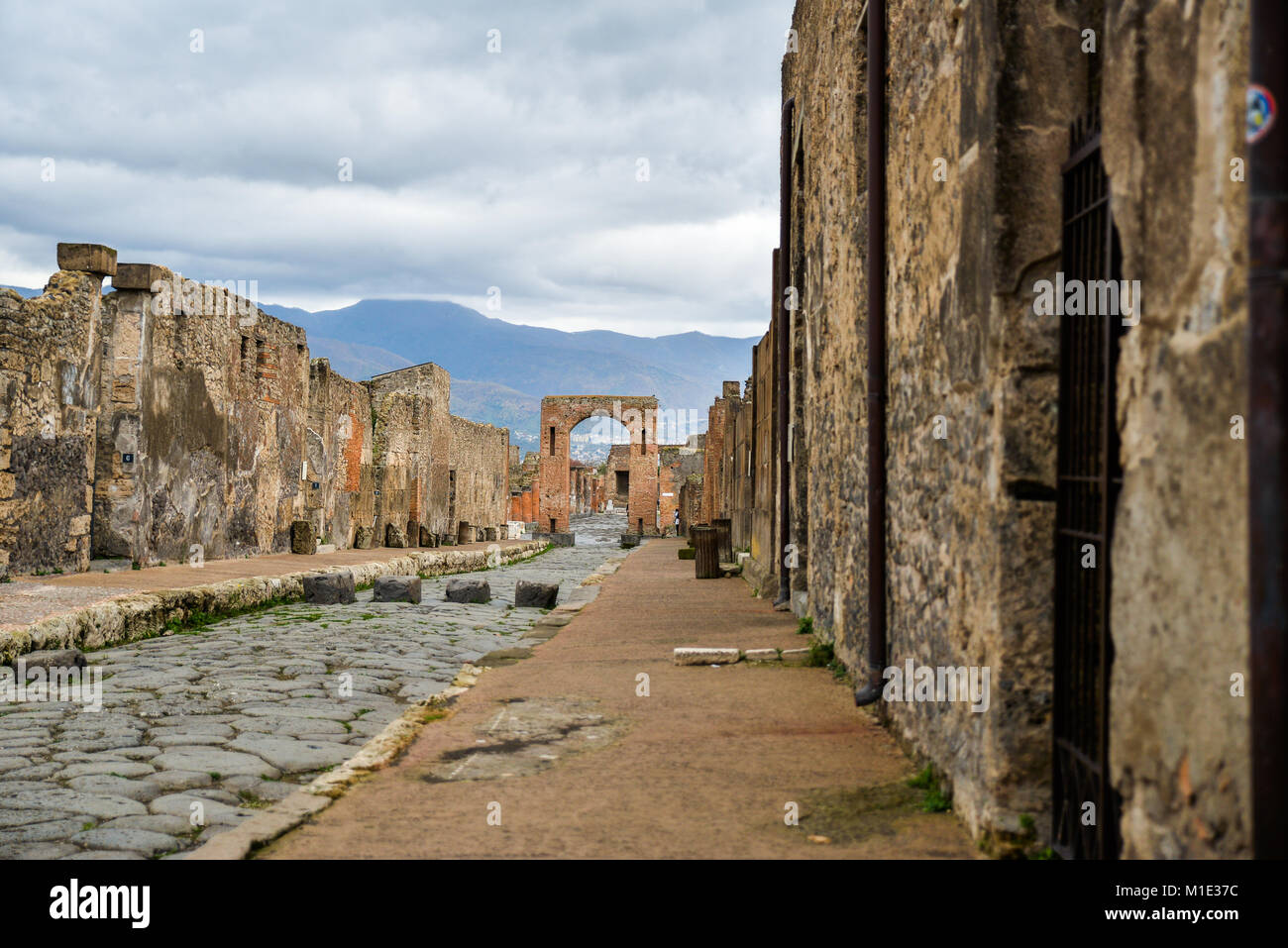 Ruins of ancient city of Pompeii, destroyed by volcano Mount Vesuvius, two millenniums ago, 79 AD. open for visitors, Stock Photo