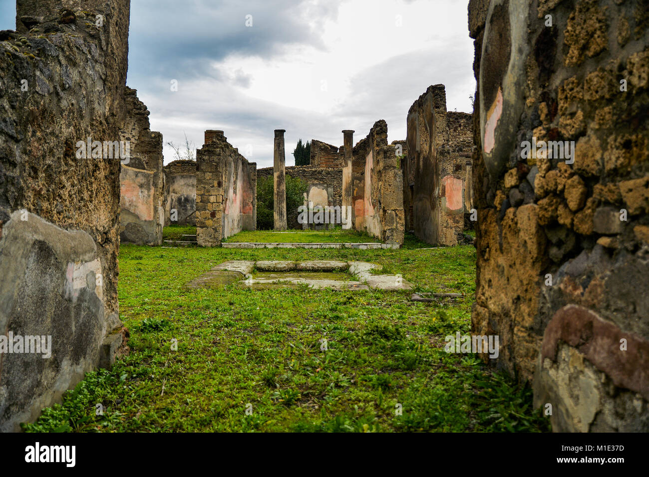 Ruins of ancient city of Pompeii, destroyed by volcano Mount Vesuvius, two millenniums ago, 79 AD. open for visitors, - Stock Image