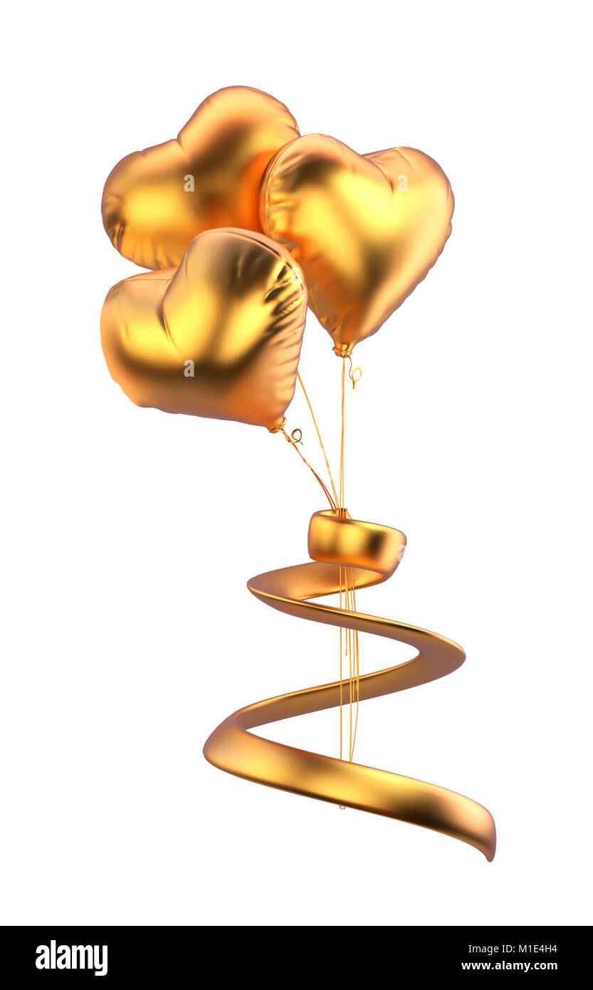 Heart balloons isolated. golden balloons with golden strip isolated on white background. Valentine's day. 3d rendered Stock Photo