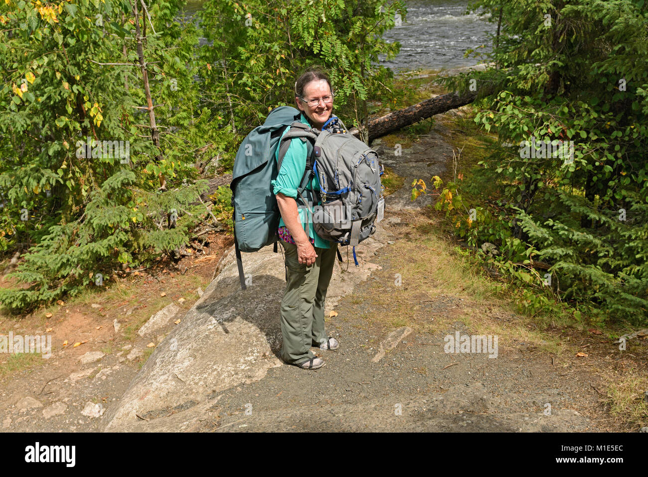 On a Wilderness Portage in Quetico Provincial Park in Ontario - Stock Image