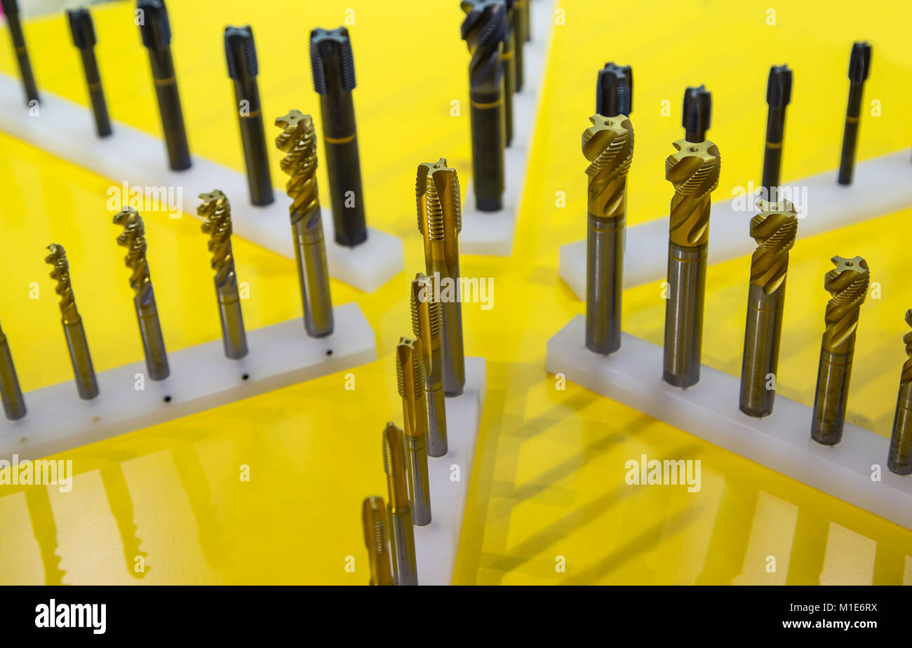 Titanium Machine Hand Tap Tapping Screw Thread - Stock Image