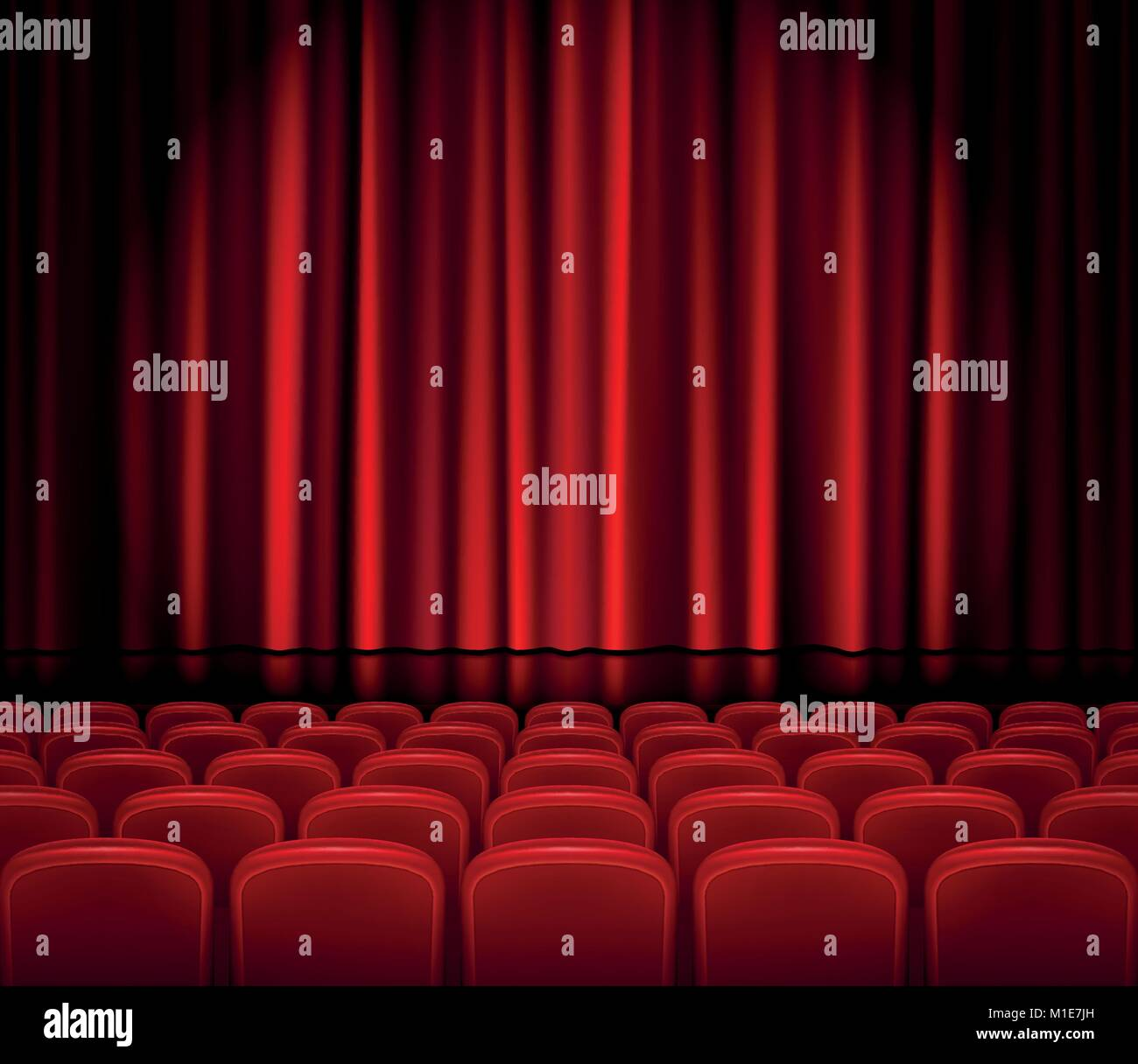 Closed Red Curtains with Seats in a theater or ceremony. Realistic Theater hall, Opera or Cinema Scene for your - Stock Vector