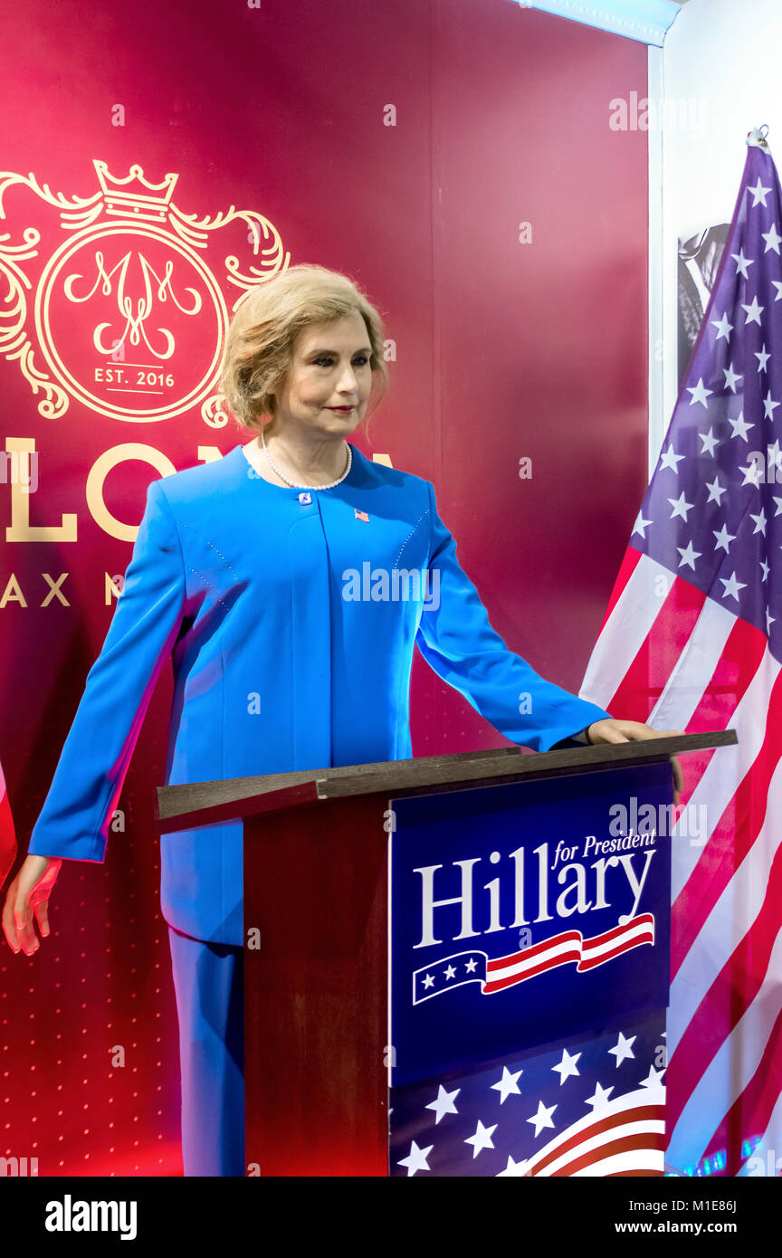 Wax statue of Hillary Clinton at the Krakow Wax Museum - Cracow, Poland. - Stock Image
