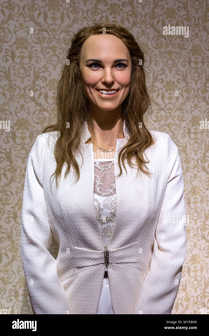 Wax statues of Kate Middleton, Duchess of Cambridge at the Krakow Wax Museum - Cracow, Poland. - Stock Image