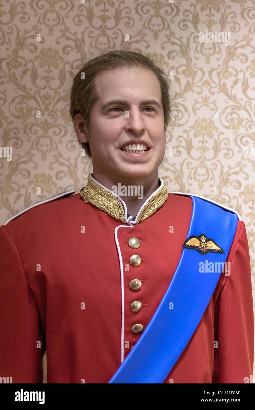 Wax statues of Prince William, Duke of Cambridge at the Krakow Wax Museum - Cracow, Poland. - Stock Image