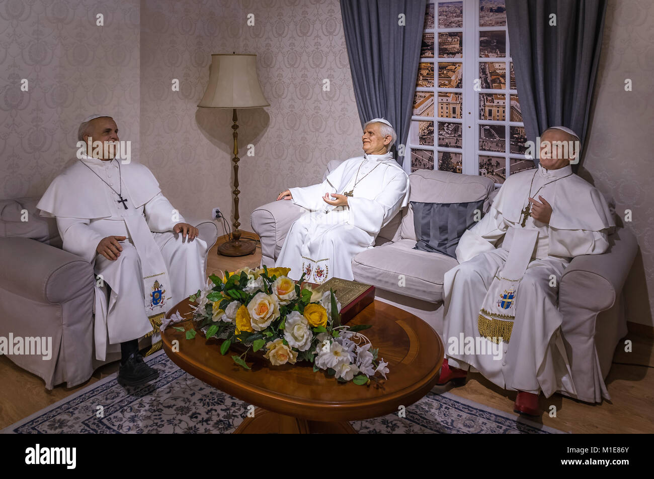 Wax statues of the heads of the Roman Catholic Church at the Krakow Wax Museum - Cracow, Poland - Stock Image