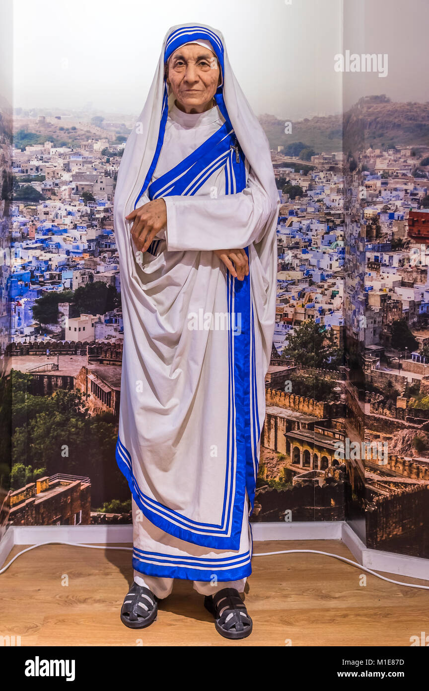 Wax statue of Mother Teresa of Calcutta at the Krakow Wax Museum - Cracow, Poland. - Stock Image