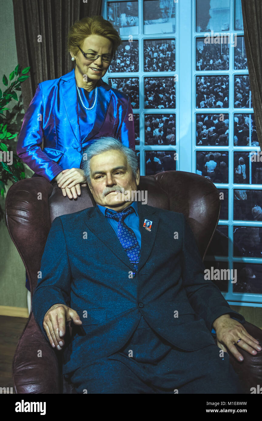 Wax statues of Lech Walesa, the former President of the Republic of Poland and Danuta Walesa at the Krakow Wax Museum - Stock Image