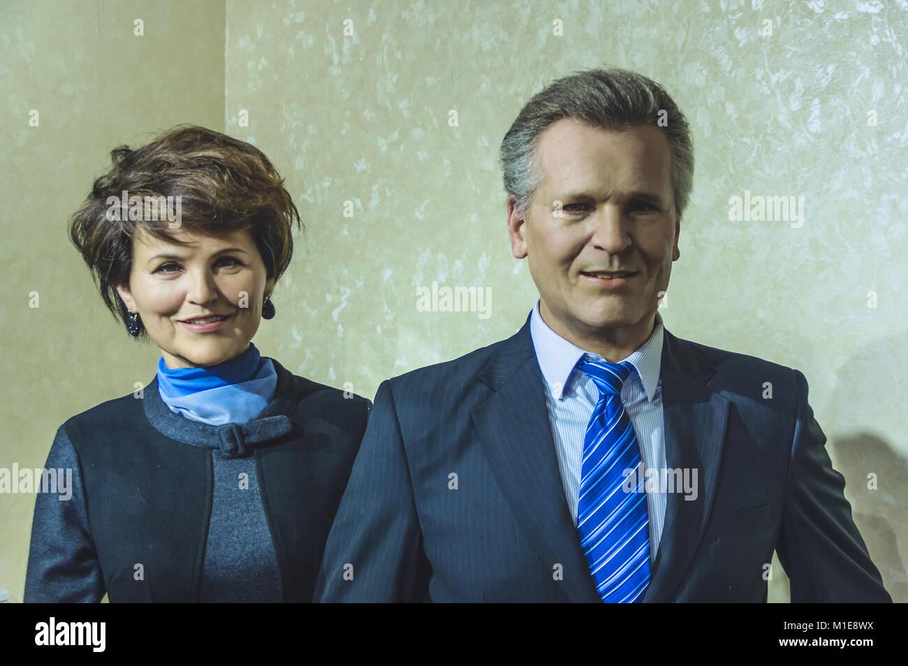 Wax statues of Aleksander Kwasniewski, former President of the Republic of Poland and Jolanta Kwasniewska at the - Stock Image